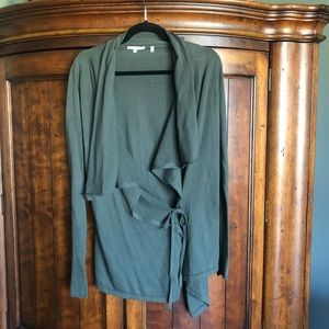Vince Olive Army Green Oversized Tie Cardigan M